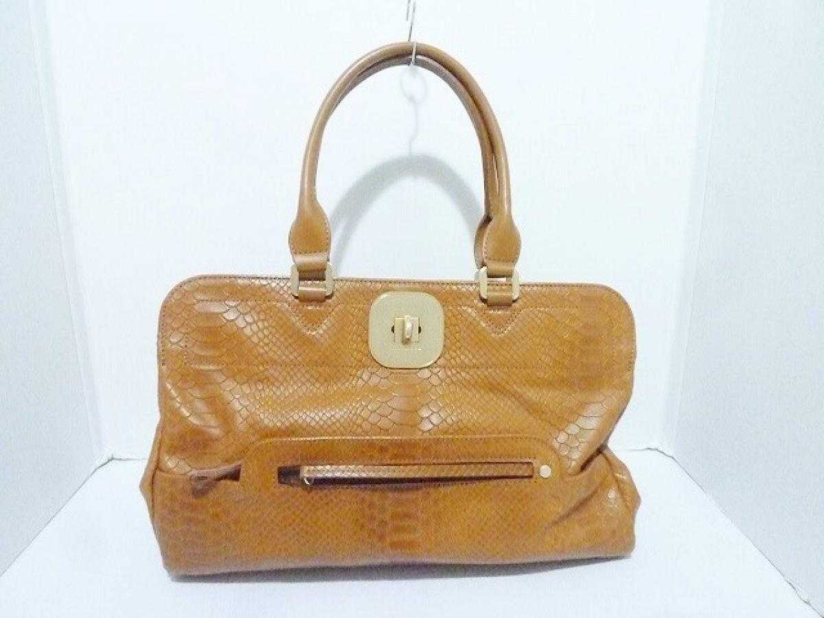 LONGCHAMP(ロンシャン) ハンドバッグ美品■ ブラウン 型押し加工 レザー【中古】