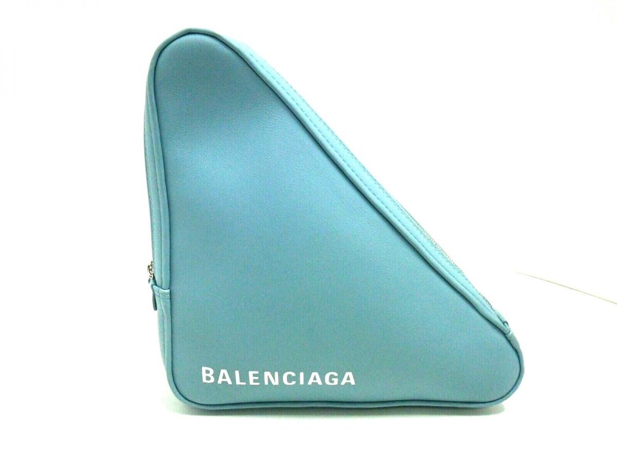 BALENCIAGA(バレンシアガ) クラッチバッグ美品■ トライアングルポーチM 476976 ブルー レザー【中古】
