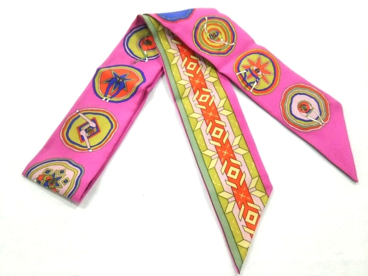 HERMES(エルメス) スカーフ美品■ ツィリー ピンク×マルチ Belles du Mexique【中古】