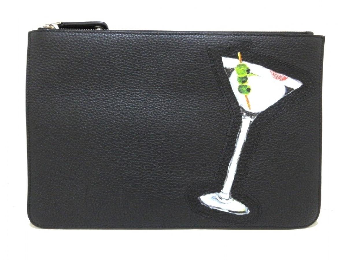 FENDI(フェンディ) クラッチバッグ美品■ - 7N0078 黒×白×マルチ レザー【中古】