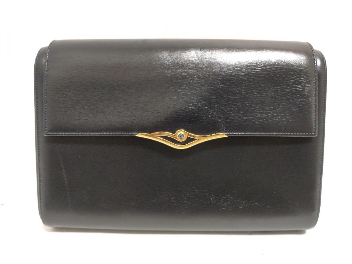 Cartier(カルティエ) クラッチバッグ美品■ サファイアライン 黒 レザー【中古】