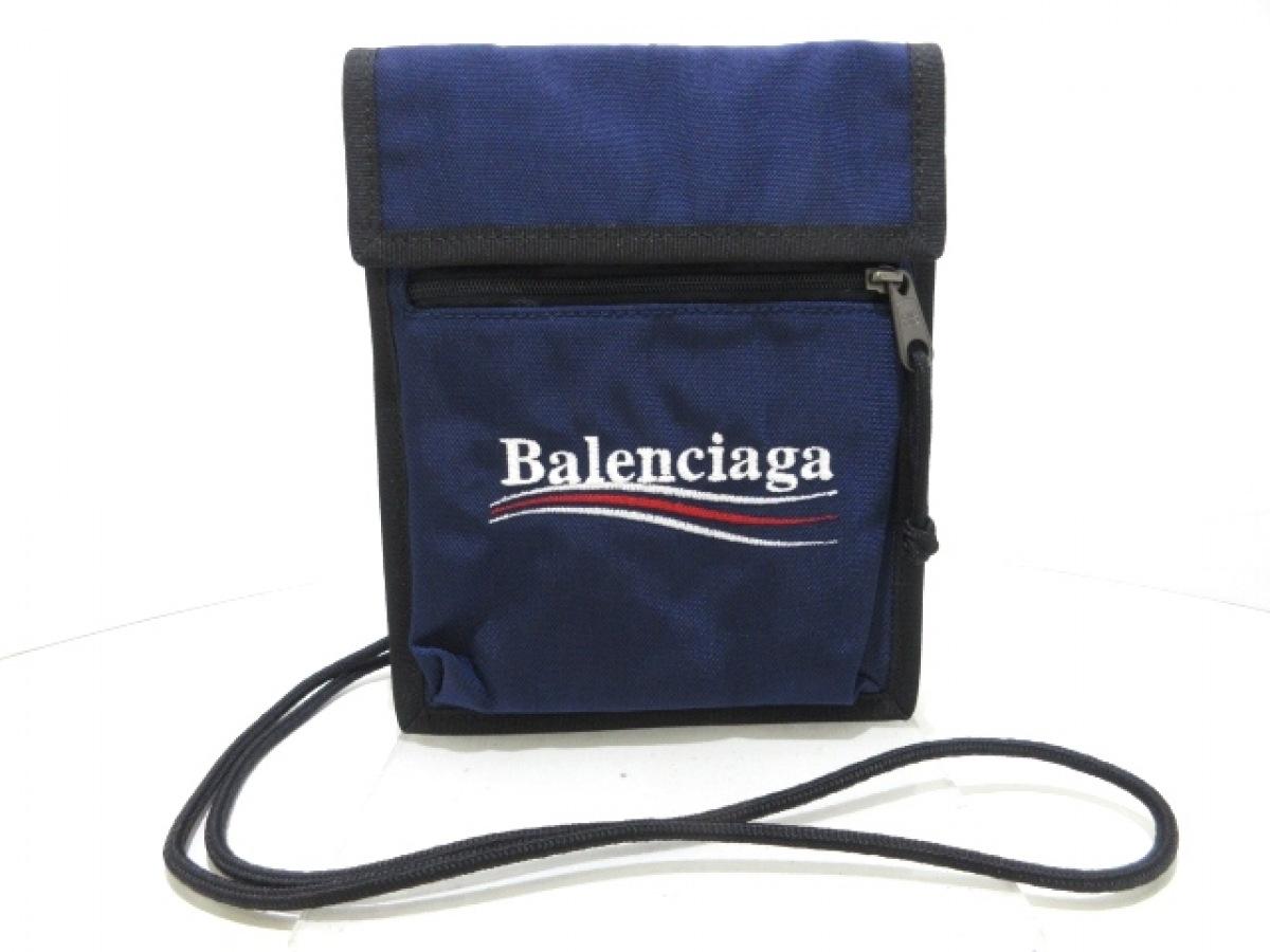 BALENCIAGA(バレンシアガ) ショルダーバッグ美品■ エクスプローラー ポーチ ストラップ 532298 ネイビー×黒 ナイロン【中古】