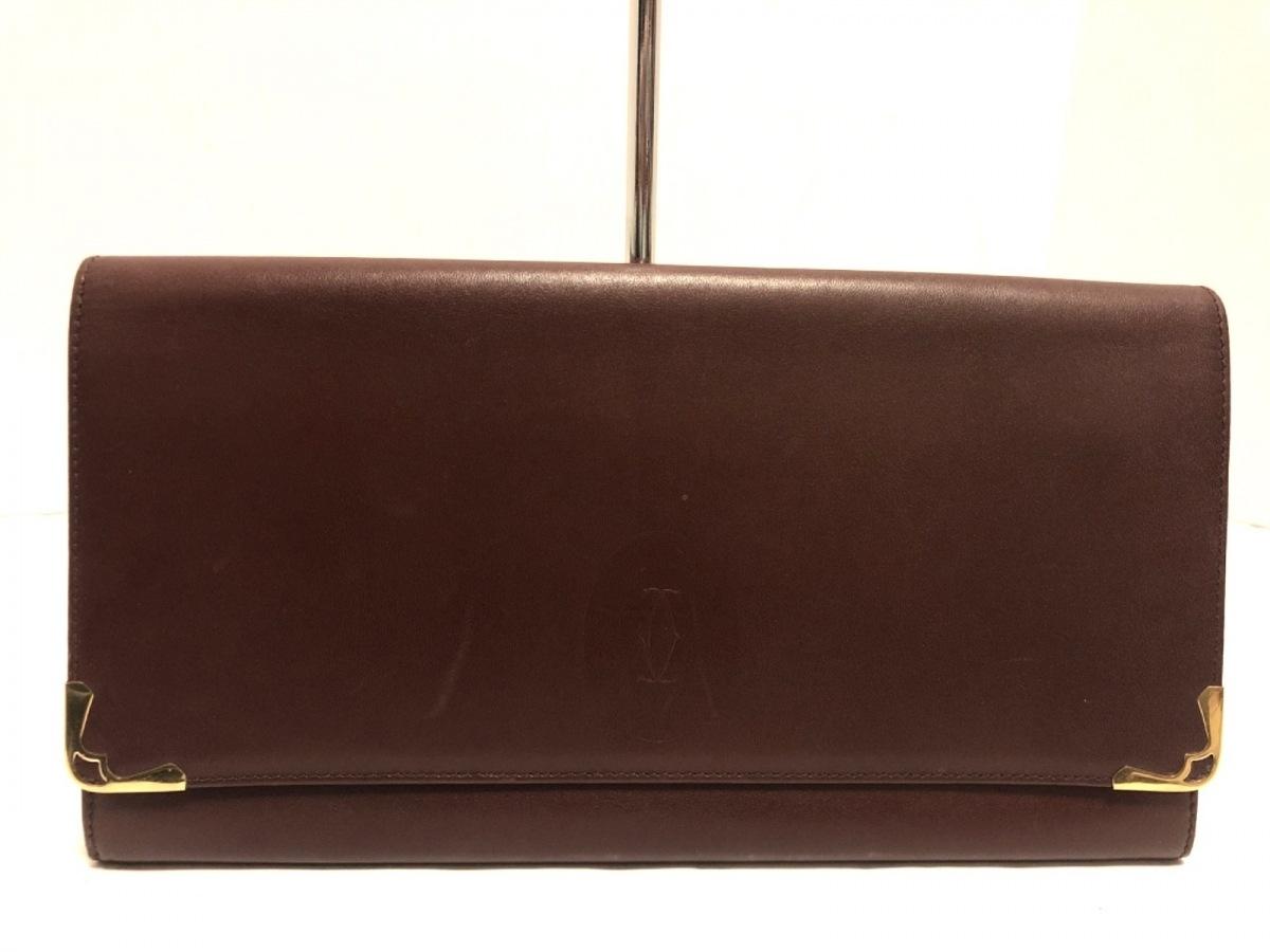Cartier(カルティエ) クラッチバッグ美品■ マストライン 73184155 ボルドー×ゴールド レザー【中古】