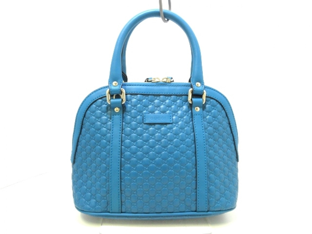 GUCCI(グッチ) ハンドバッグ新品同様■ マイクログッチシマ 449654 ブルー レザー【中古】