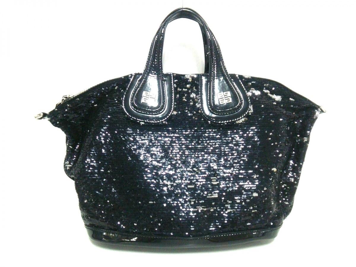 GIVENCHY(ジバンシー) ハンドバッグ美品■ ナイチンゲール 黒 スパンコール×エナメル(レザー)【中古】
