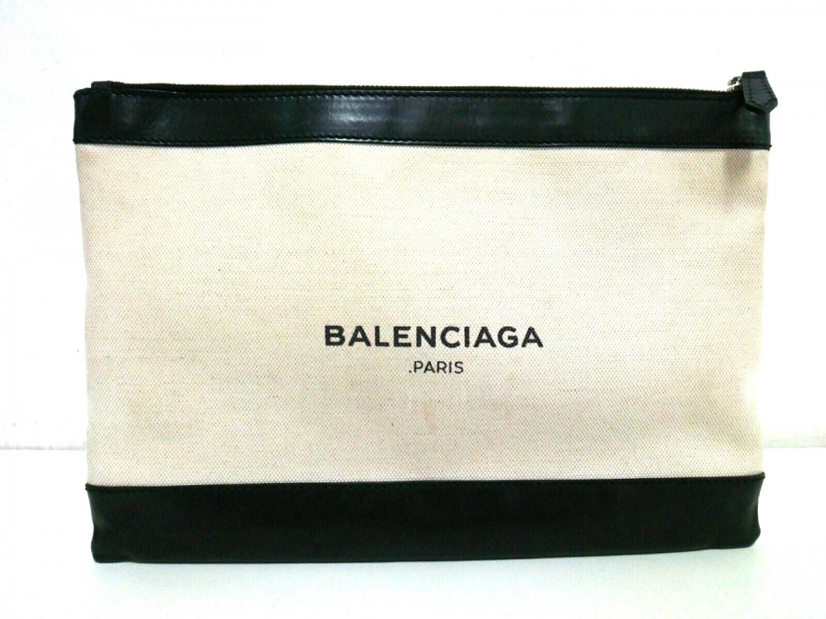 BALENCIAGA(バレンシアガ) クラッチバッグ ネイビークリップM 373834 アイボリー×黒 キャンバス×レザー【中古】