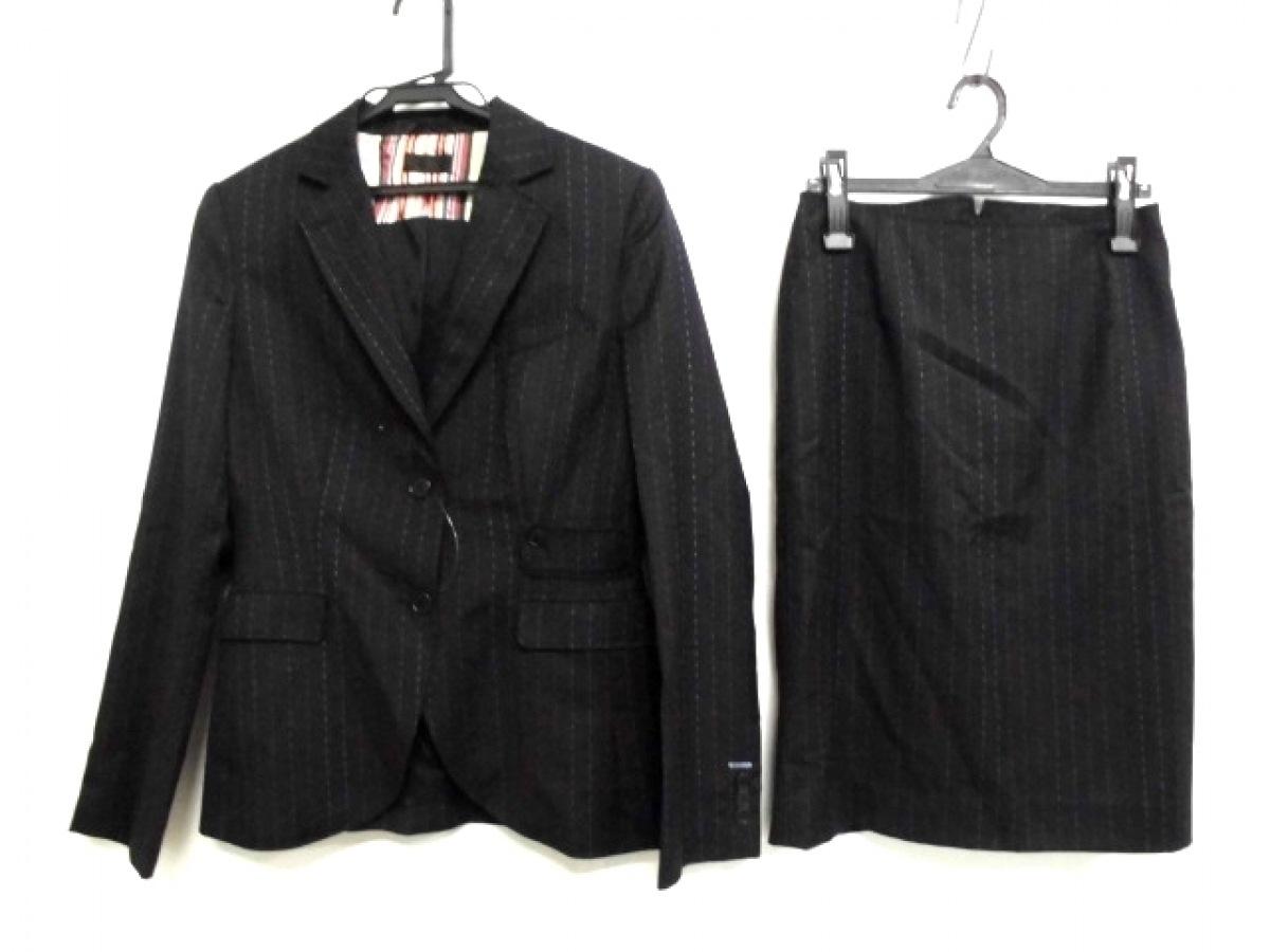 PaulSmith BLACK(ポールスミスブラック) スカートスーツ サイズ40 M レディース 黒×マルチ ストライプ【中古】