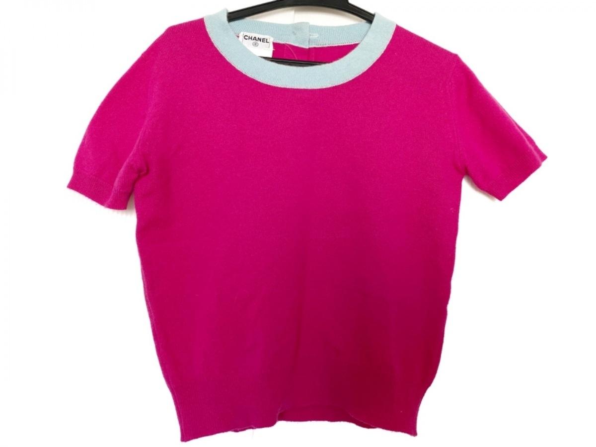 CHANEL(シャネル) 半袖セーター サイズ36 S レディース PO5246 ピンク×ライトブルー カシミヤ【中古】
