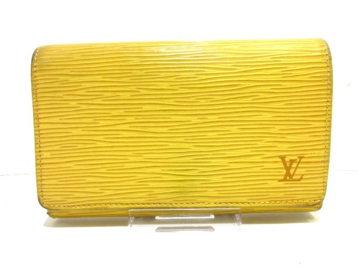 LOUIS VUITTON(ルイヴィトン) 2つ折り財布 エピ ポルト モネ・ビエ トレゾール M63509 ジョーヌ レザー(LVロゴの刻印入り)【中古】
