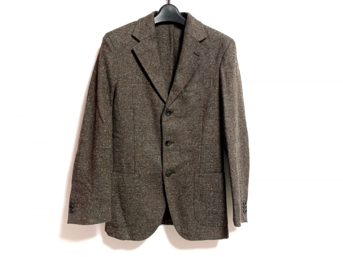 DOVER(ドーバー) ジャケット サイズ42 L メンズ - ブラウン×ネイビー×マルチ 長袖/秋/冬【中古】