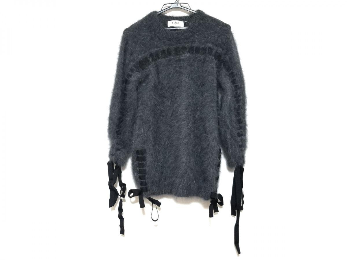 FENDI(フェンディ) 長袖セーター サイズ36 S レディース美品■ - グレー クルーネック/リボン【中古】