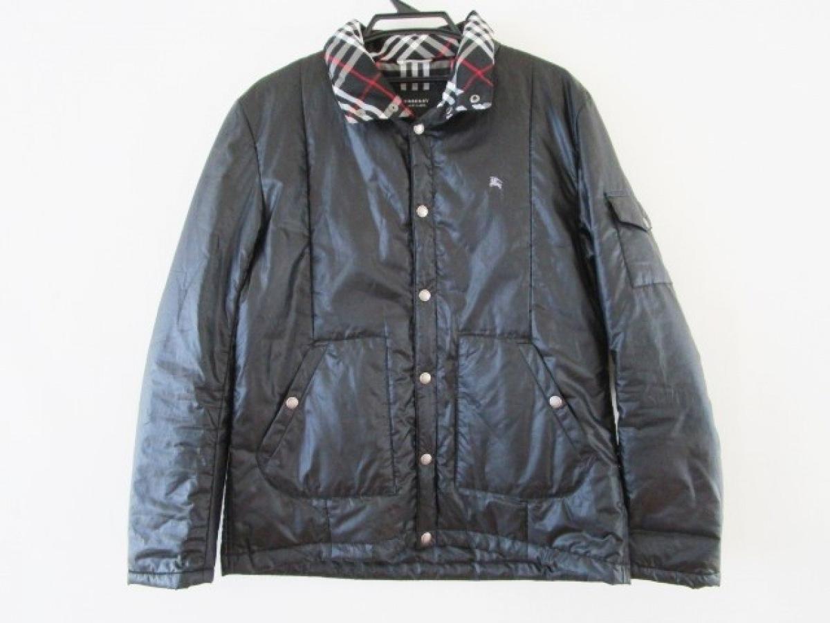 Burberry Black Label(バーバリーブラックレーベル) コート サイズL メンズ - 黒 長袖/フード付き/春/秋【中古】