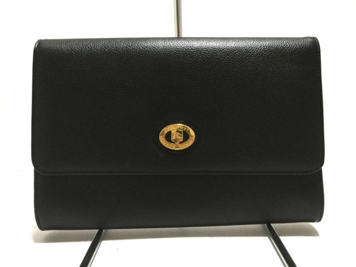 Burberry's(バーバリーズ) クラッチバッグ - 黒 レザー【中古】