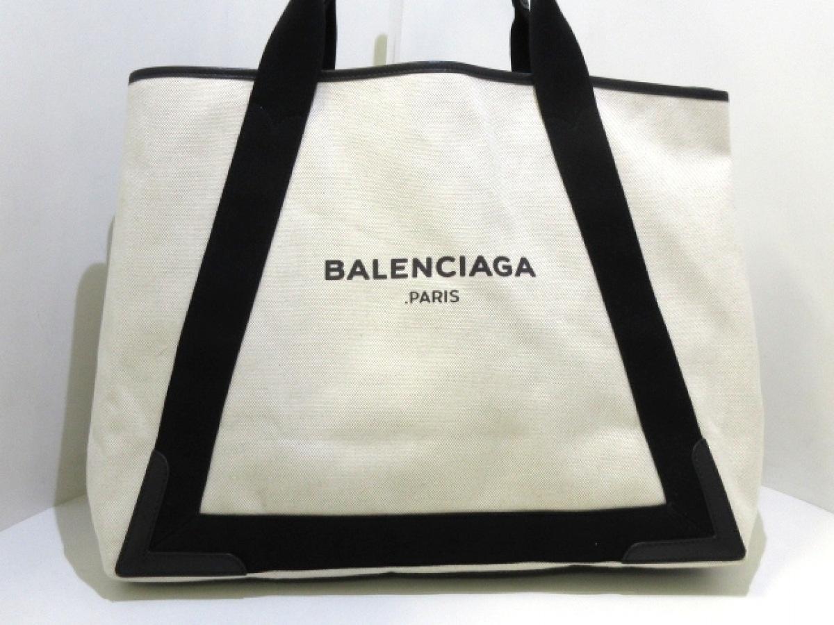 BALENCIAGA(バレンシアガ) トートバッグ美品■ ネイビーカバM 339936 アイボリー×黒 キャンバス×レザー【中古】