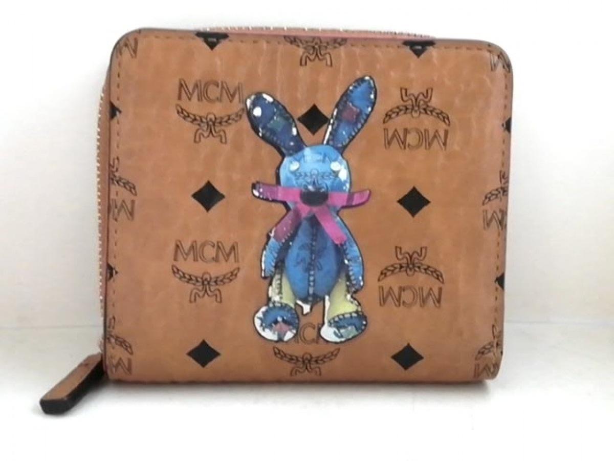MCM(エムシーエム) 2つ折り財布 - ライトブラウン×マルチ ラウンドファスナー 合皮【中古】