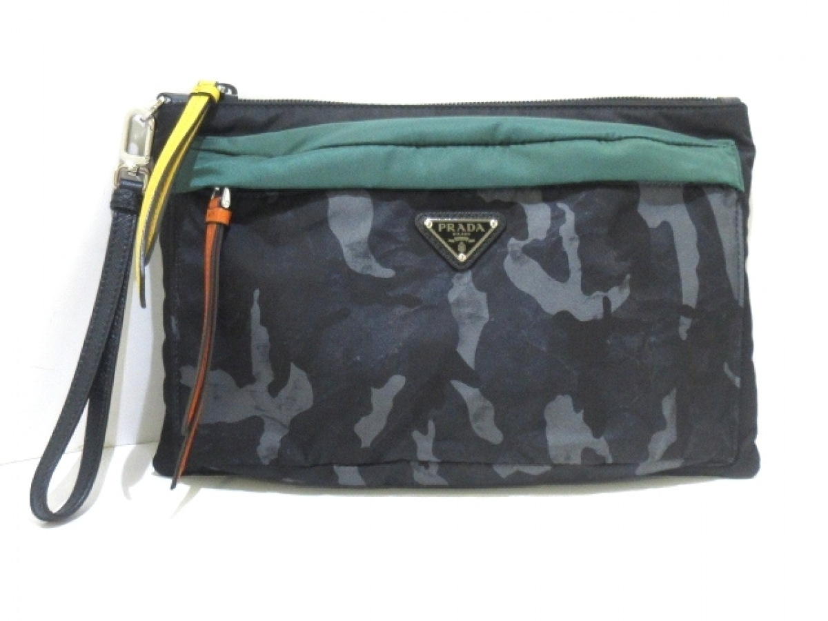 PRADA プラダ クラッチバッグ - 迷彩柄 ナイロン×レザー 買物 中古 激安価格と即納で通信販売 黒×グリーン×マルチ