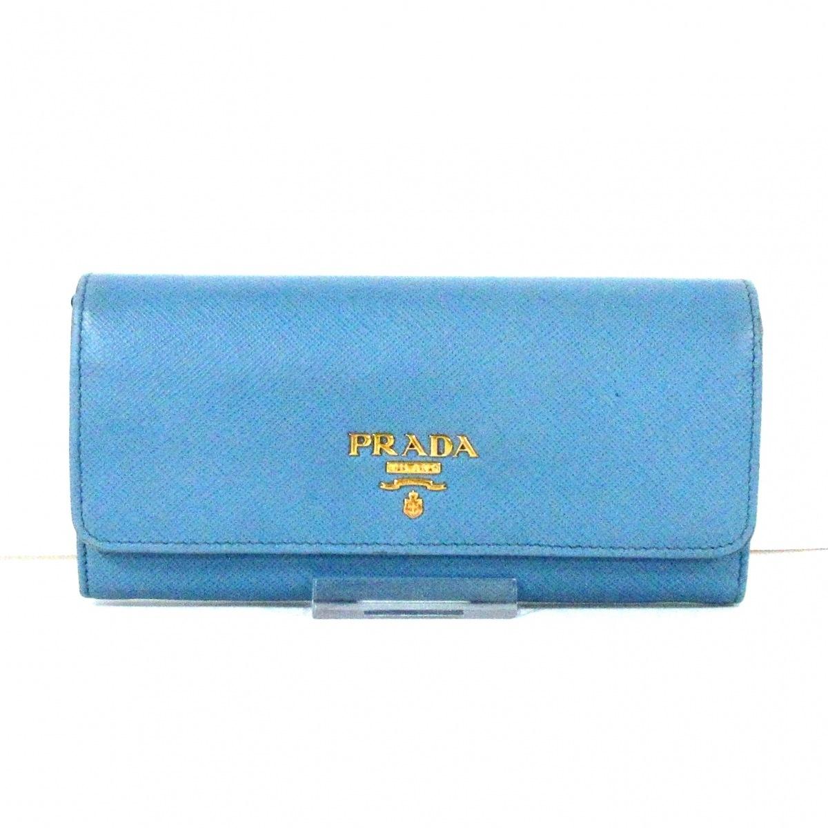 PRADA プラダ 長財布 - サフィアーノレザー 1MH132 ライトブルー 営業 安心の定価販売 中古