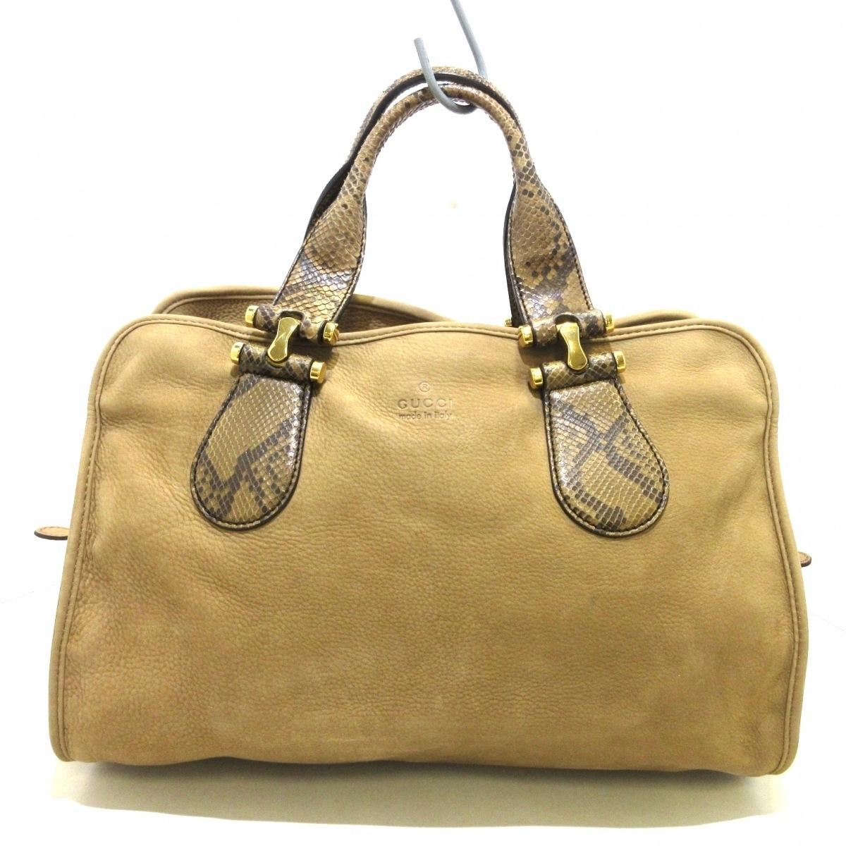 新着 新品 中古 GUCCI セール商品 グッチ ベージュ×ブラウン スエード×パイソン ハンドバッグ