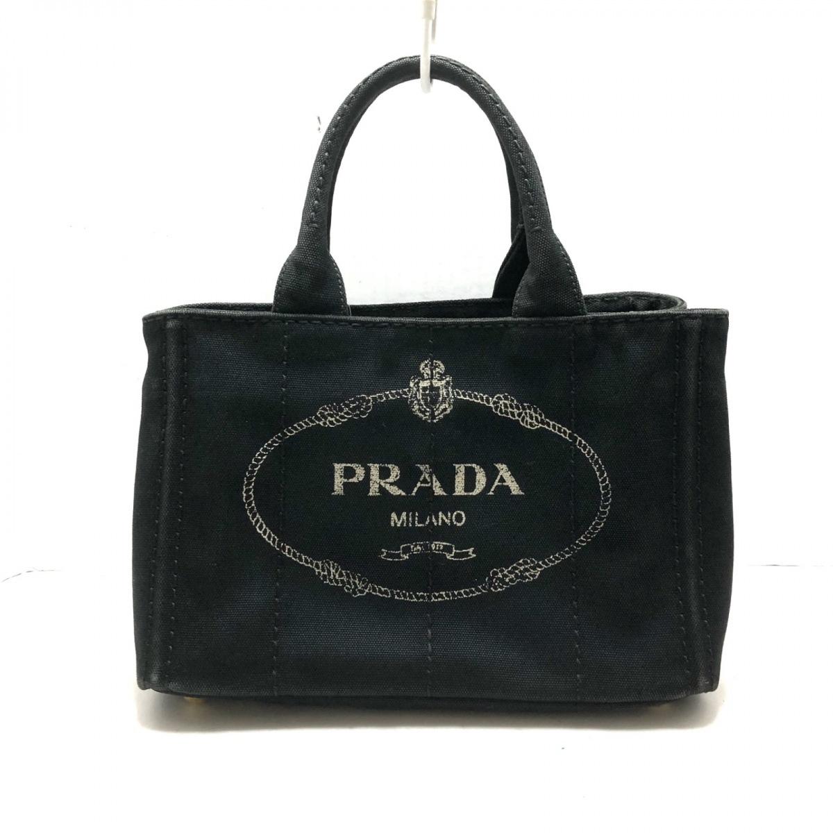 日本未発売 新着 中古 PRADA プラダ 春の新作続々 キャンバス ハンドバッグ 黒×アイボリー CANAPA