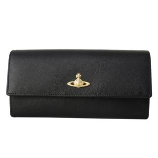 Vivienne Westwood ヴィヴィアンウエストウッド 321405 二つ折り 長財布 かぶせ蓋 フラップ ウォレット OPIO SAFFIANO BLACK ブラック 黒【あす楽対応_関東】