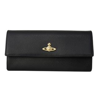 Vivienne Westwood ヴィヴィアンウエストウッド 321522 二つ折り 長財布 かぶせ蓋 フラップ ウォレット OPIO SAFFIANO BLACK ブラック 黒【あす楽対応_関東】