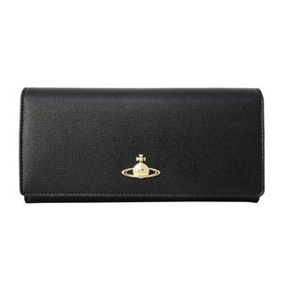 Vivienne Westwood ヴィヴィアンウエストウッド 51040004 N459 二つ折り 長財布 かぶせ蓋 フラップ ウォレットSAFFIANO BLACK ブラック 黒【あす楽対応_関東】