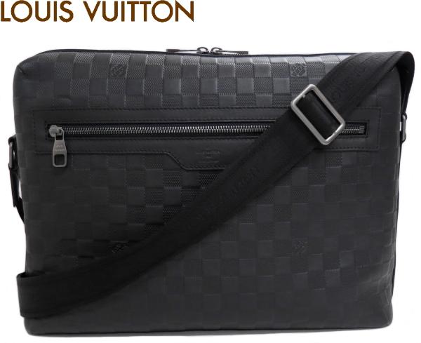 【中古】 美品 ルイヴィトン ダミエ アンフィニ カリプソGM ショルダーバッグ 黒 メンズ k62