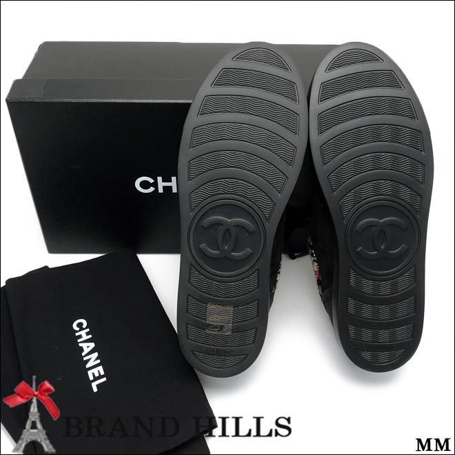 シャネル スニーカー ツイードトリム ブラック レザー スウェード #38 G31060 15A CHANEL 未使用品