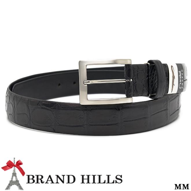 クロコダイル ベルト マット ブラック 幅35mm ピンバックル 裏:牛革 紳士用 メンズ 黒 新品 現品発送