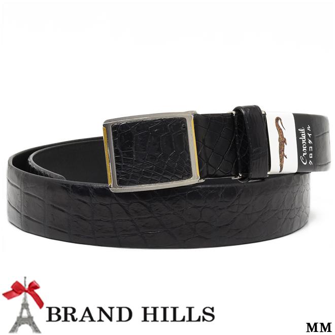 クロコダイル ベルト マット ブラック 幅35mm スライド式バックル 裏:牛革 紳士用 メンズ 黒 新品 現品発送