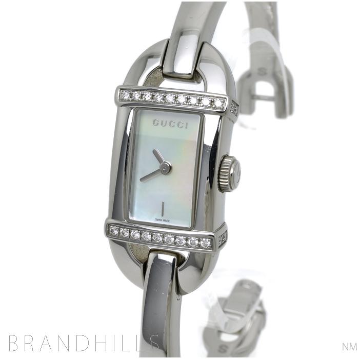グッチ 腕時計 レディース バンブー 6800L バングルウォッチ Sサイズ クォーツ SS ダイヤベゼル ホワイトシェル文字盤 YA068507 GUCCI 美品 【中古】