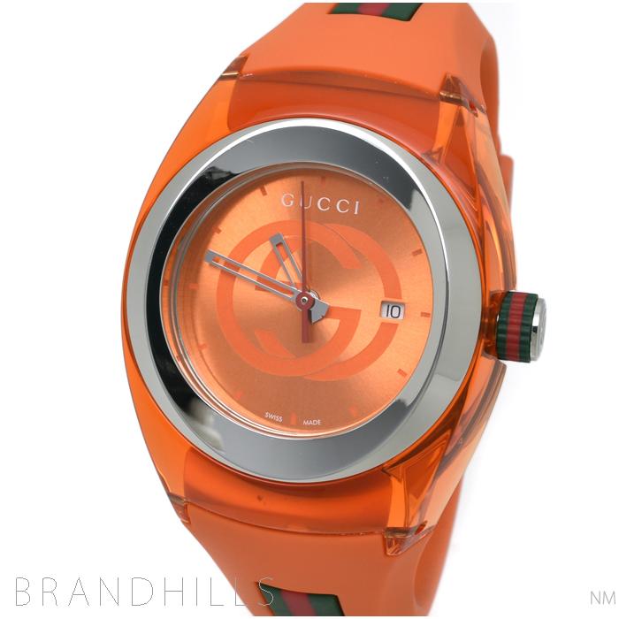 グッチ 腕時計 ユニセックス シンク オレンジ クォーツ SS/ラバー オレンジ文字盤 YA137311 GUCCI SYNC 極美品 【中古】