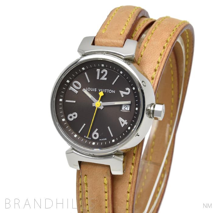 ルイヴィトン 腕時計 レディース クォーツ タンブール トリプルコイルドストラップ SS/レザー ブラウン文字盤 Q1211 LOUIS VUITTON 美品 【中古】
