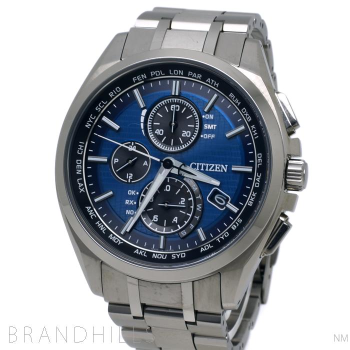 シチズン アテッサ 腕時計 メンズ エコドライブ 電波 ワールドタイム 針表示式ダイレクトフライト クロノグラフ AT8040-57L CITIZEN 美品 【中古】