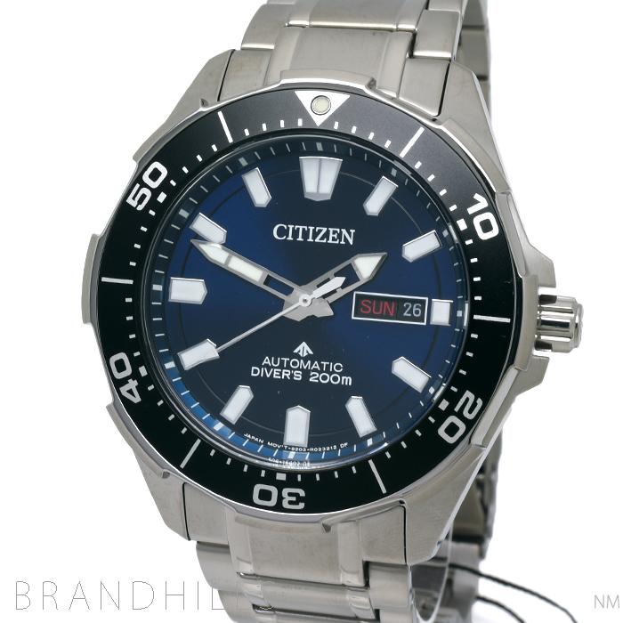 シチズン プロマスター 腕時計 メンズ 自動巻き MARINE メカニカル ダイバー 200m チタン ブルー文字盤 NY0070-83L CITIZEN 未使用品 【中古】