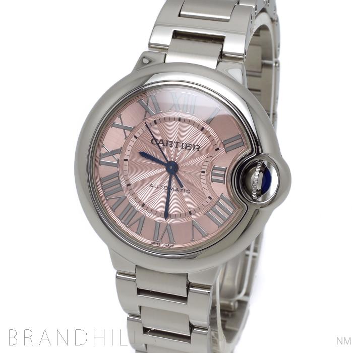 カルティエ 腕時計 レディース バロンブルー ドゥ カルティエ 33mm 自動巻き SS ピンク文字盤 W6920100 Cartier 美品 【中古】
