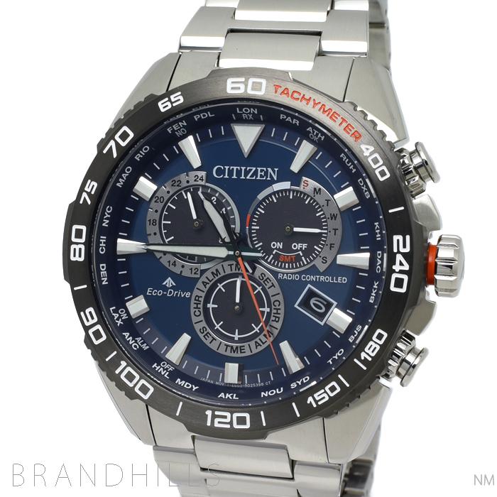 シチズン 腕時計 メンズ プロマスター LAND エコドライブ電波 針表示式ダイレクトフライト SS ブルー文字盤 CB5034-82L CITIZEN 未使用品 【中古】