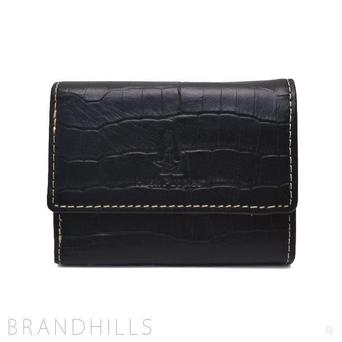 ハッシュパピー コンパクト財布 3つ折り ブラックレザー 未使用品 【中古】