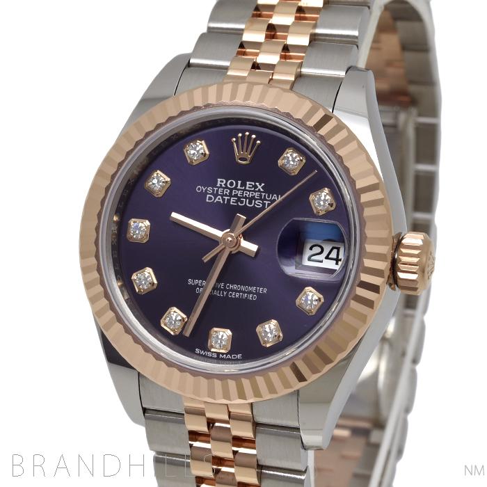 ロレックス 腕時計 レディース デイトジャスト 自動巻き SS/18KRG 10Pダイヤインデックス オーベルジーヌ(パープル)文字盤 ルーレット ランダム番 279171G ROLEX 極美品 【中古】