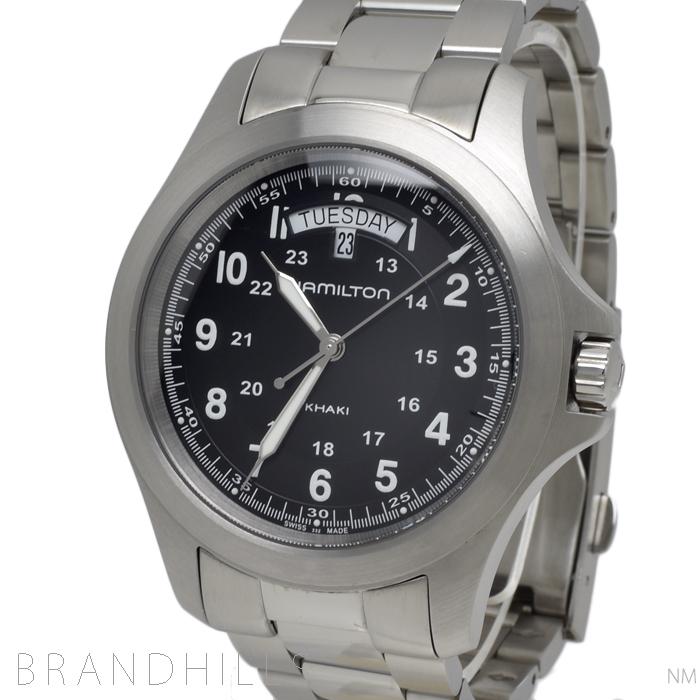 ハミルトン 腕時計 メンズ カーキ フィールド キング クォーツ SS ブラック文字盤 H64451133 HAMILTON 美品 【中古】