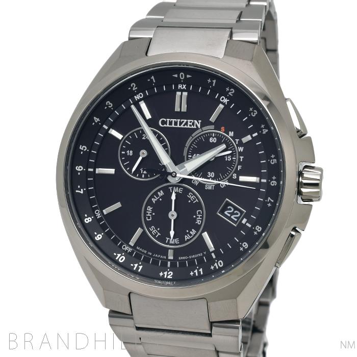 シチズン 腕時計 メンズ アテッサ エコドライブ電波 ダイレクトフライト ワールドタイム クロノグラフ チタン ブラック文字盤 CB5040-80E CITIZEN 未使用品 【中古】
