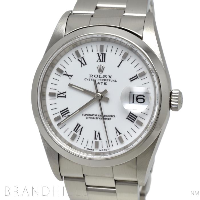 ロレックス 腕時計 メンズ オイスターパーペチュアル デイト 自動巻き SS ホワイト文字盤 ローマン A番 1999年頃 15200 ROLEX 美品 【中古】