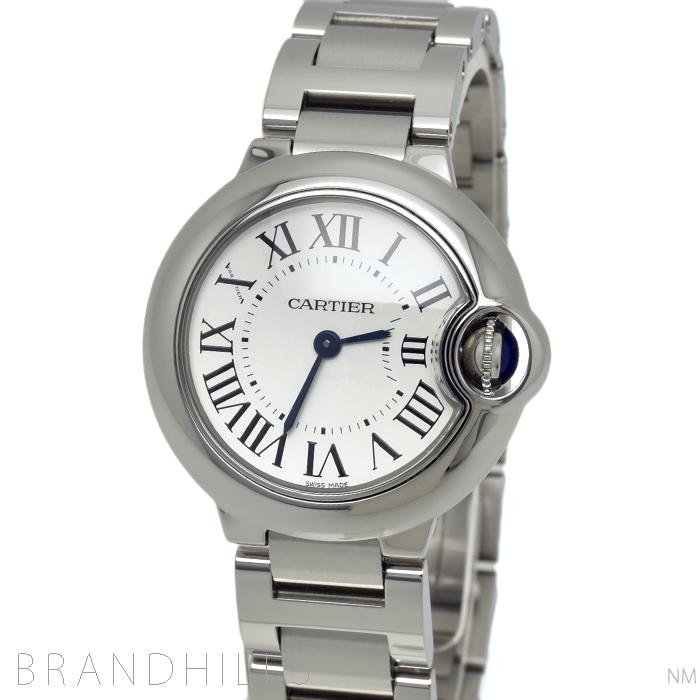 カルティエ 腕時計 レディース バロンブルー ドゥ カルティエ クォーツ 28mm SS シルバー文字盤 W69010Z4 Cartier 極美品 【中古】