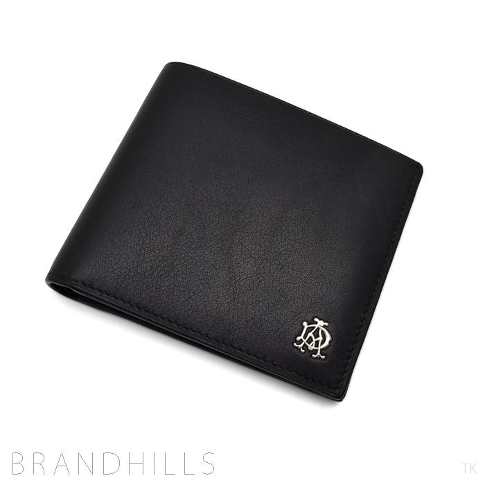 ダンヒル 2つ折り財布 メンズ ブラック リーブスレザー コインケース付き L2XR32A dunhill 未使用品 【中古】