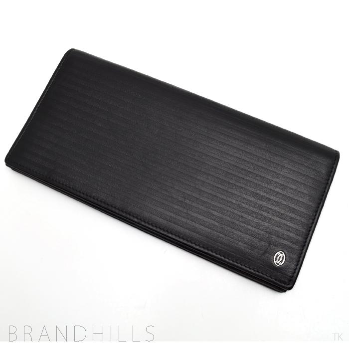 カルティエ 長財布 メンズ パシャ ストライプライン ブラックレザー 2つ折り ファスナー式コインケース付き L3001321 Cartier 【中古】