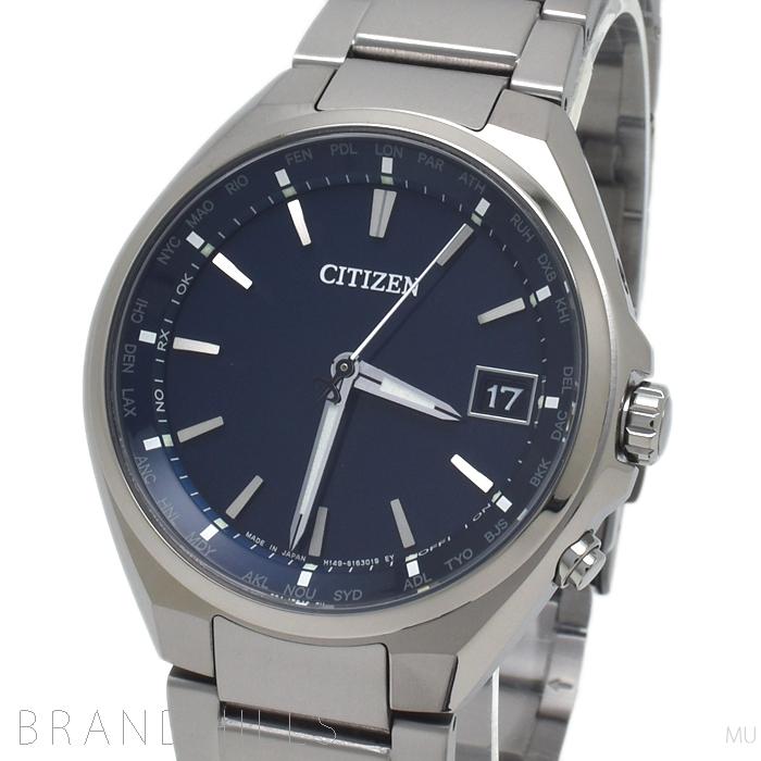シチズン 腕時計 メンズ アテッサ エコドライブ電波 針表示式ダイレクトフライト ワールドタイム スーパーチタニウム ブルー文字盤 CB1120-50L CITIZEN 未使用品 【中古】