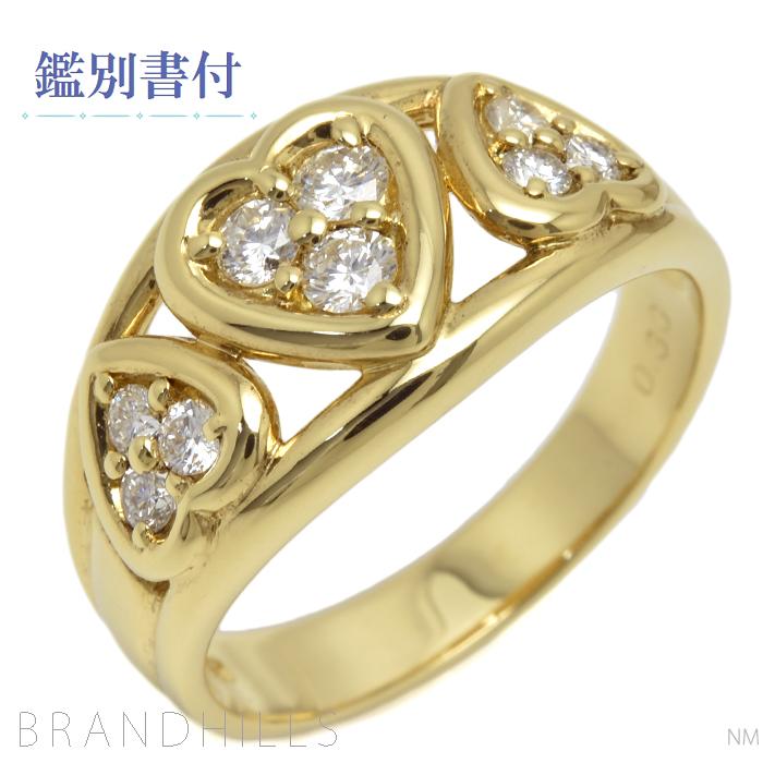 リング 指輪 レディース 18金イエローゴールド ハートモチーフ ダイヤモンド0.30ct 10号 K18YG 総重量4.4g 極美品 【中古】