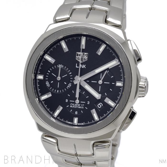 タグホイヤー 腕時計 メンズ 自動巻き リンク SS クロノグラフ ブラック文字盤 キャリバー17 CBC2110.BA0603 TAG HEUER 美品 【中古】