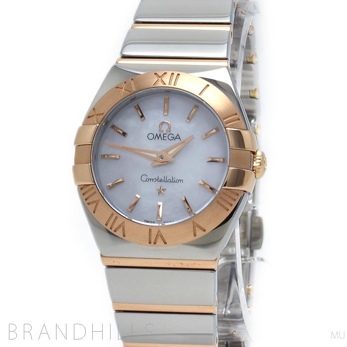 オメガ 腕時計 レディース コンステレーション ポリッシュクォーツ 24MM SS/RG シェル 123.20.24.60.05.003 OMEGA 極美品 【中古】