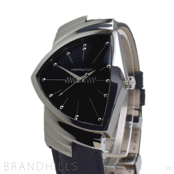 ハミルトン 腕時計 メンズ VENTURA ベンチュラ クォーツ SS レザー ブラック H244112 HAMILTON 極美品 【中古】